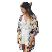 2016 summer shirt style new tops women blouses printed shirts casual camisas femininas blusas vintage kimono cardigan plus size