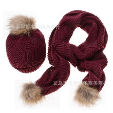 2016 women wool knitted scarf and hat suit autumn and winter warm knit cap scarves diamond