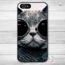 For iphone 4/4s 5/5s 5c SE 6/6s plus ipod touch 4/5/6 back skins mobile cellphone cases cover Cute Lovely Sunglasses Funny Cat