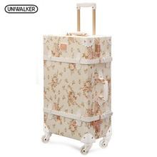 20 22 24 zoll Spinner rad Floral Pu leder koffer Frauen Vintage gepäck sets roll gepäck mit 13 zoll Kosmetische Tasche(China (Mainland))