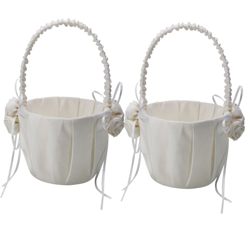 2pcs Rose Decorated Satin Flower Girl Basket for Wedding Ceremony Party (Ivory White)