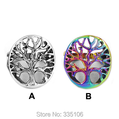 Free Shipping Colorful Claddagh Style Life Tree Ring Stainless Steel Jewelry Fashion Celtic Knot Motor Biker Ring Women SWR0418A(China (Mainland))