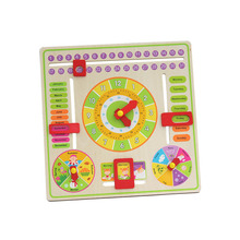 New multifunction  children's education toys (learn  Calendar/mouths/clock/date/weather/week/season ) Puzzle Hanging wood board(China (Mainland))