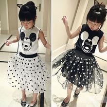 2016 New Fashion Baby Clothing Set Baby Girl Sets Vest+Tutu Skirt Newborn bebe Spring Summer Baby Girl Clothes Mickey(China (Mainland))