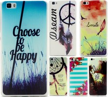 For Huawei P8 Lite Case Ultra Thin TPU Cover Embossed Painting Transparent Soft Silicone Phone Case For Huawei Ascend P8 Lite ]