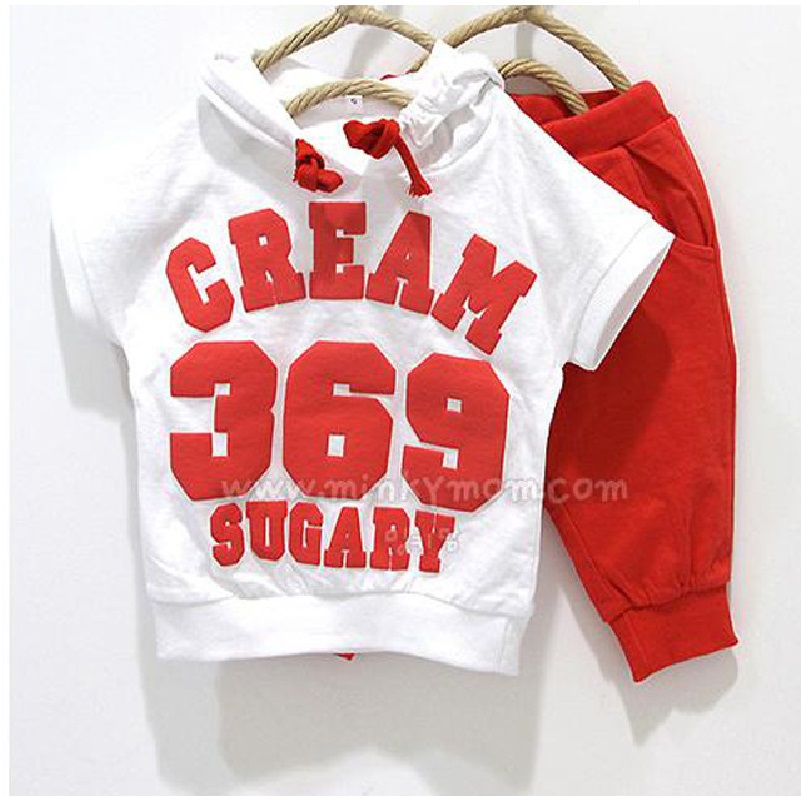 Digital 369 Baby Boys Clothes Sets 2 3 4 years White Kids Sport Suit Pants Children Tracksuits Thin Summer Clothing Suit for boy(China (Mainland))