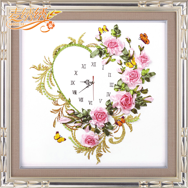 No frame embroidered ribbon embroidery clock watch suite living room flower paintings heart bell cross stitch upgrade(China (Mainland))
