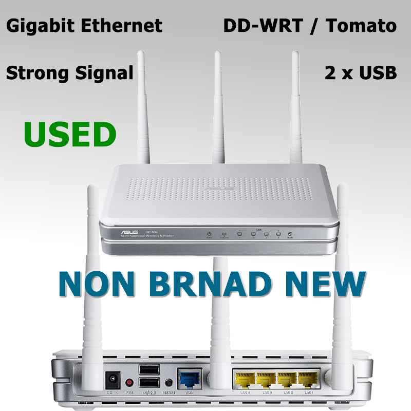 USED 300Mbps Wireless WiFi Router Gigabit Ethernet 3* 6DBi Detachable Antenna 2*USB Port For ASUS RT-N16 Support DD-WRT / Tomato(China (Mainland))