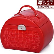 2015 New Arrival Leather Fashion Cosmetic Bags Makeup Storage Organizer Suitcase Large Capacity Jewelry box Wedding gift(China (Mainland))