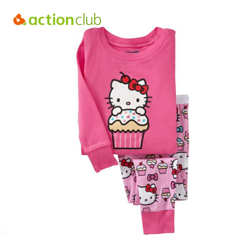 Kids girls clothes sets New 2016 children's winter clothing sets hello kitty cat fashion pajamas baby girls clothing set KS225(China (Mainland))