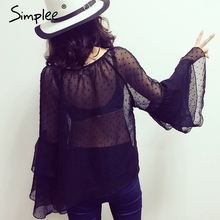 Buy Simplee Sexy chiffon blouse shirt women tops Summer ruffle blouse chemise femme Lace long sleeve blouse blusas camisa female for $9.99 in AliExpress store