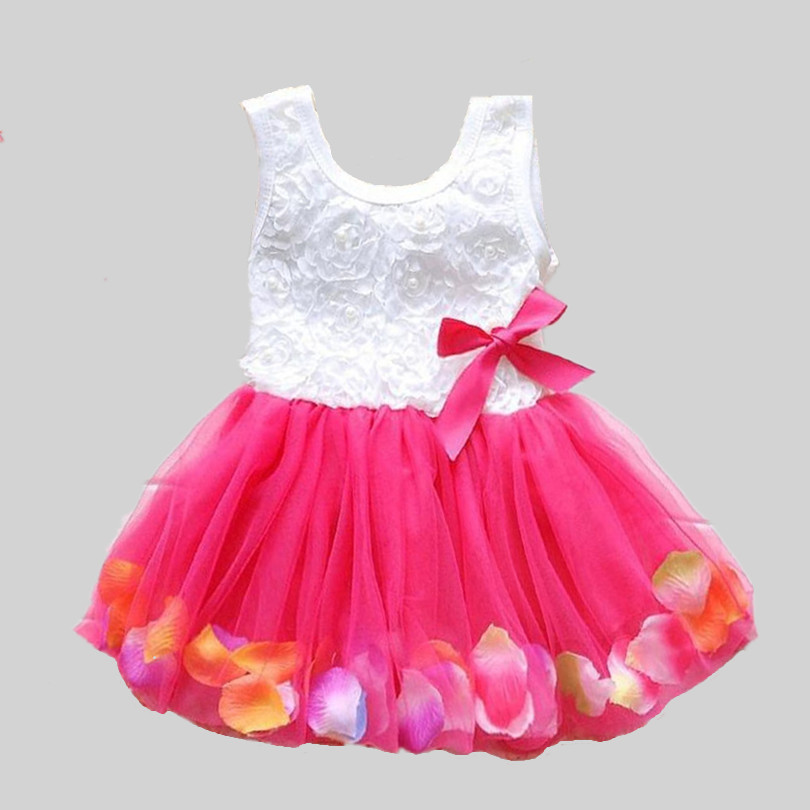 2016 Summer New Cotton Baby Infant Fairy Tale Petals Colorful Dress Chiffon Princess Newborn Baby Dresses Gift(China (Mainland))