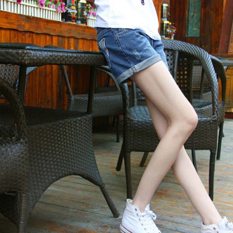 2014 Korea Women Simple Blue Cuffed Jean Shorts Girls Cheap Tall and Big Denim Shorts for Juniors Hotpants Trouser Free Shipping(China (Mainland))