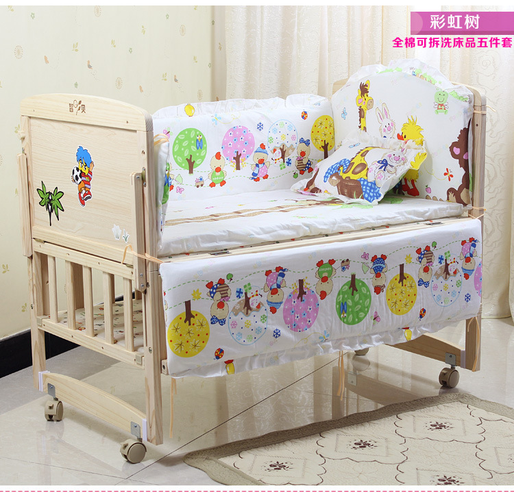 Promotion! 7pcsb Animal Carton Baby Bedding Sets Kit Set Crib Bedding Crib Quilt (bumper+duvet+matress+pillow)<br><br>Aliexpress
