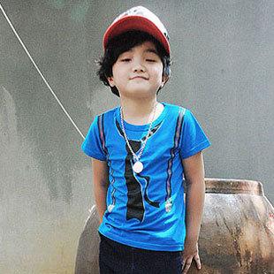 Wholesale Boys Summer T-Shirt Cool False Tie Design Cotton Tops,Children's Tshirts H0021(China (Mainland))
