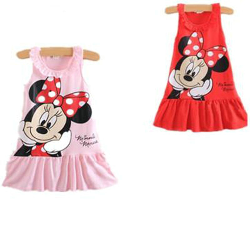 new fashion cute Kids Girls summer cotton cartoon Minnie Mouse Dress girl's sleeveless child's clothes(China (Mainland))