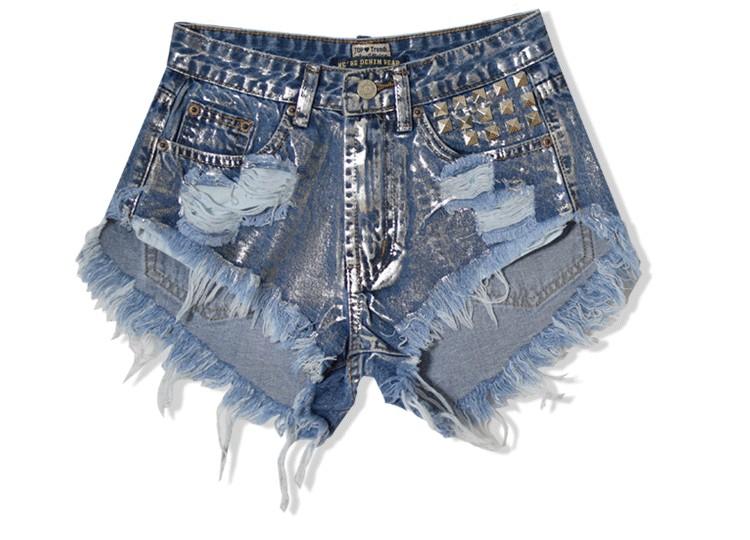 new arrived fashion jeans Shorts women high waist rivet Hole jeans Short Pants Shorts woman denim pants Short jean