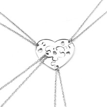 Buy Four Piece Heart Puzzle Heart Pendant Necklaces Friends Family Puzzle Necklace Sets Love Friendship Family Necklace Jewelry for $2.99 in AliExpress store