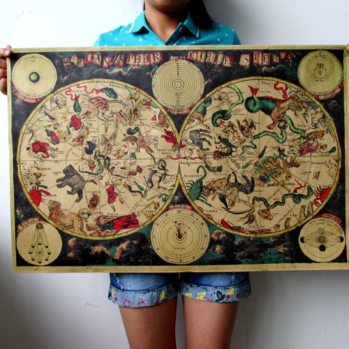 Vintage posters Large Vintage Style Retro Paper Poster 71*48cm(28 x 18.9) inch Gifts 1680 ancient zodiac constellation map(China (Mainland))
