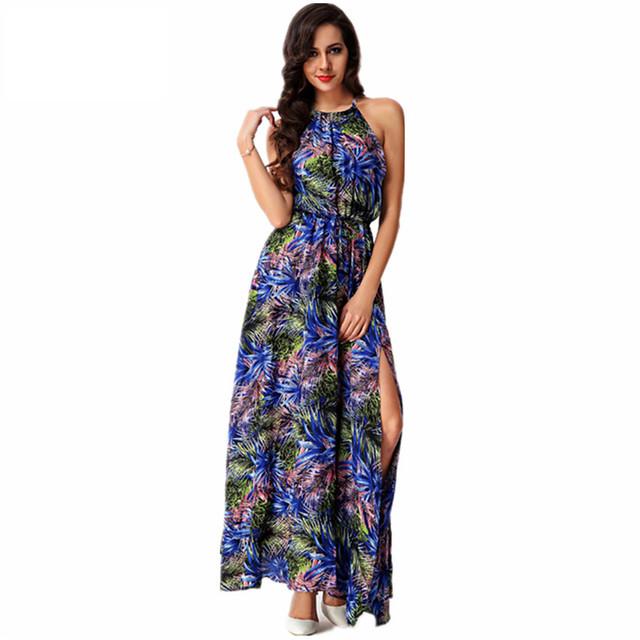 2016 новый женский летнее платье спагетти ремень тропический печать сексуальный раскол богемия Большой размер пляж длиной макси платья Vestidos