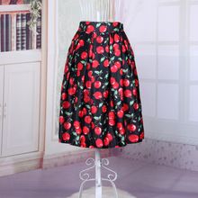 New Cherry Printed 2016 Womens Summer Skirt Knee-length Cute High Waist Pleated Rockabilly Pin Up Retro Big Swing Fashion Skirts