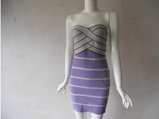 Lowest Price Clothing 2015 Summer Women HL Bandage Dresses Hot Sexy Mini Club Wear Off The Shoulder Strapless Striped Bodycon(China (Mainland))