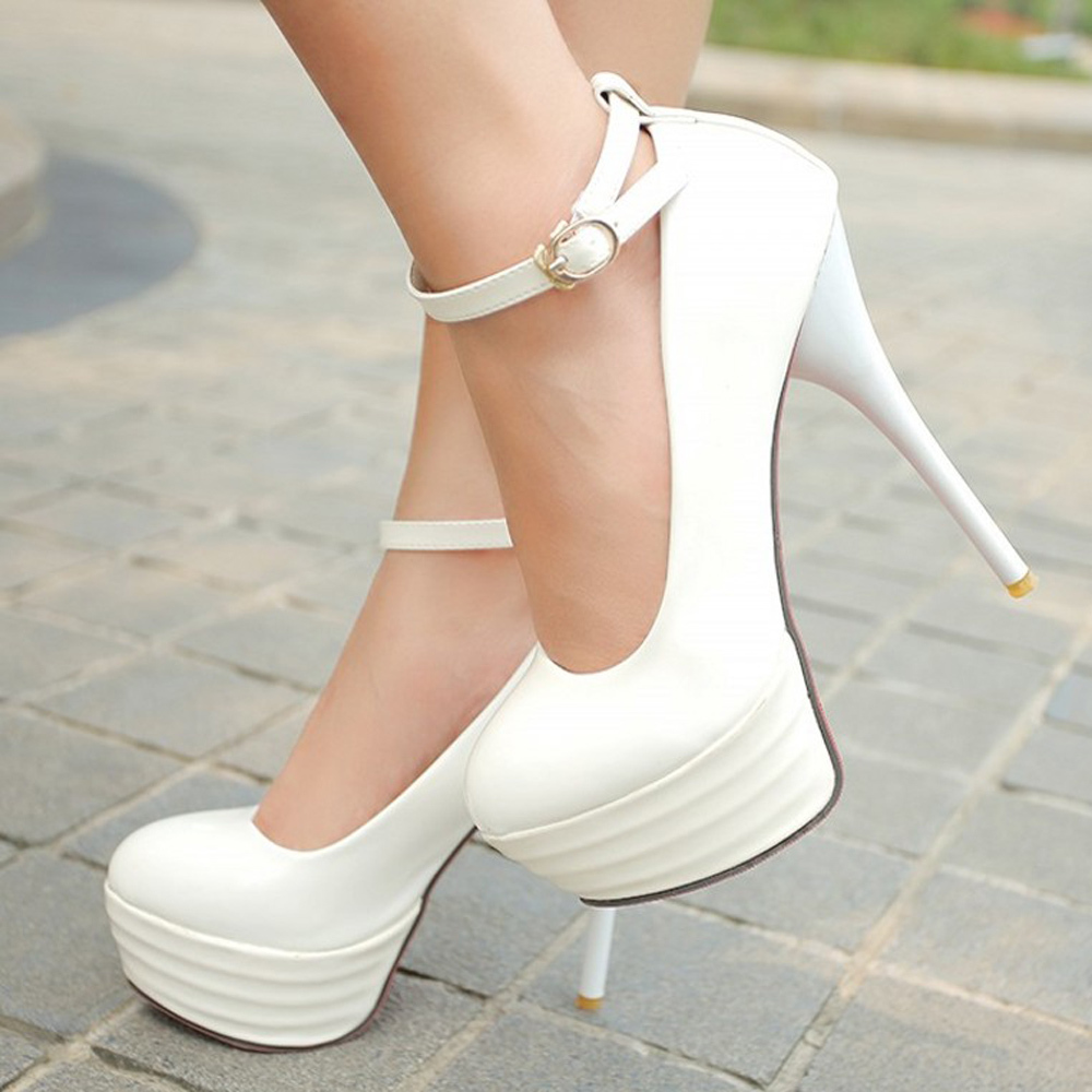Red Bottom High Heels Women Shoes White Bridal Shoes Sexy Red Sole Ultra High Heels Night Club Woman Platform Heels Big Size 42(China (Mainland))