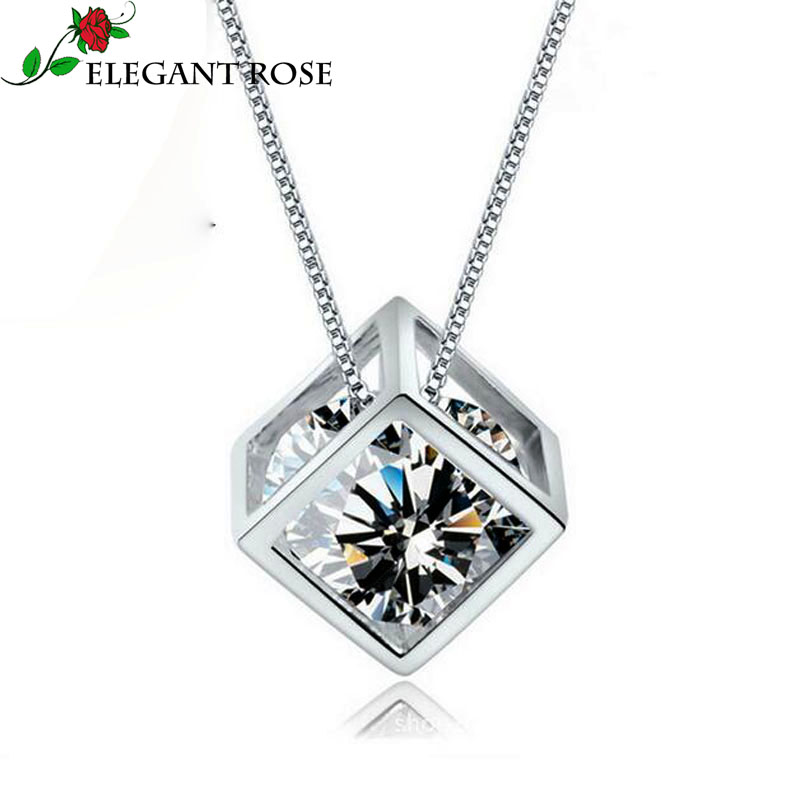 Elegant Rose 925 sterling-silver-jewelry 2 Color Crystal Angel Love Charms Cube Square Locket Pendants Statement Necklace GSZX01(China (Mainland))