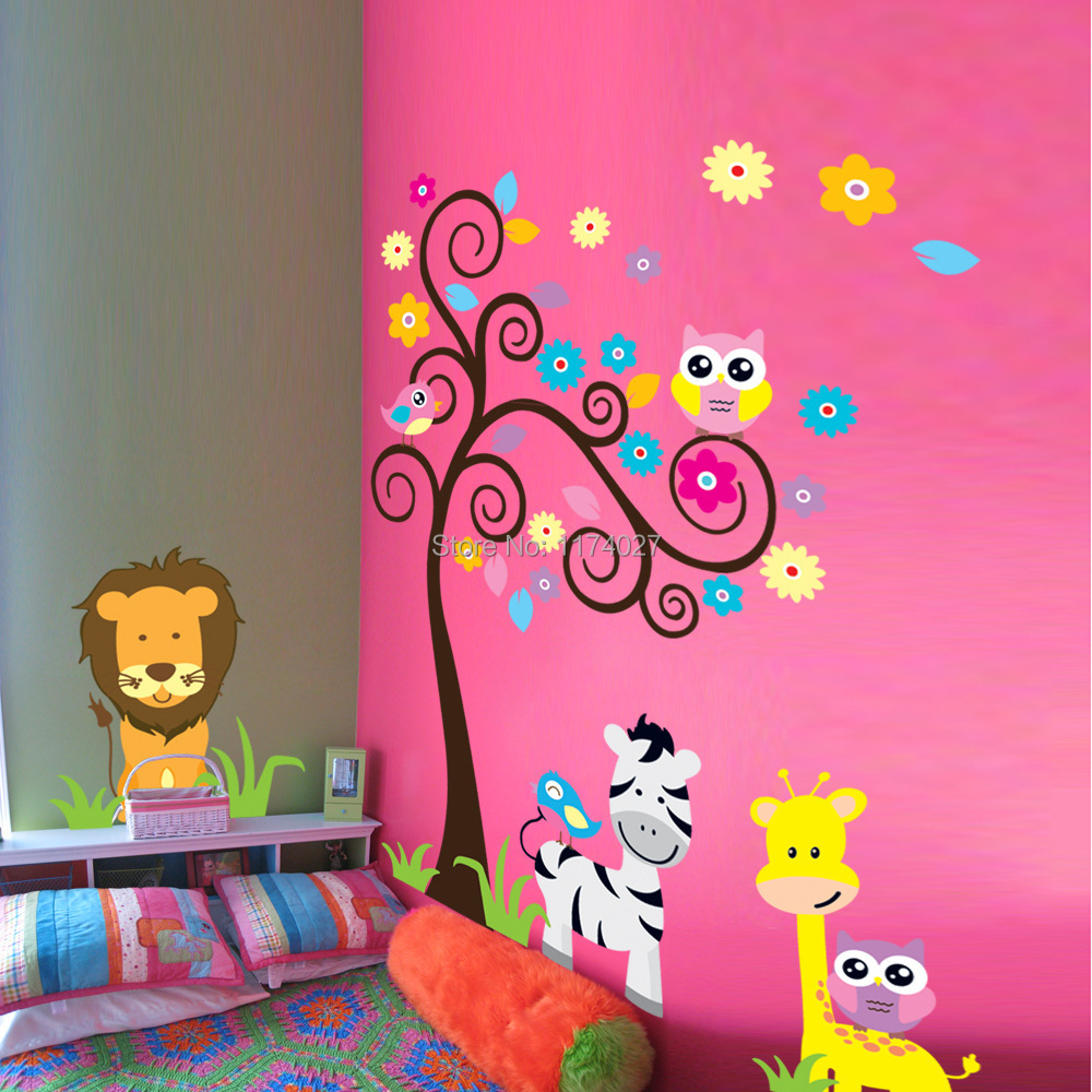 Free shipping owl tree zebra lion friends wall stickers home decor Art decals for Kids Room Decoration Removable