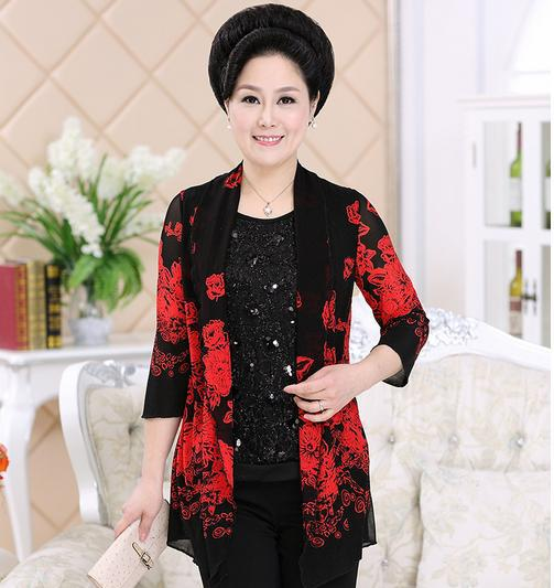 Cardigan Spring fall Best Selling fashion Slim middle-aged women blouses stitching printing fake two-piece Jacket 60440(China (Mainland))
