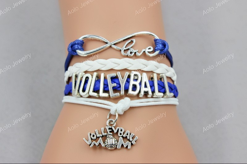 """Infinity Love Blue And White Leather Cord """"Volleyball MOM"""" Cheer Bracelets,Custom Jewelry,Free shipping! Aolo00242(China (Mainland))"""