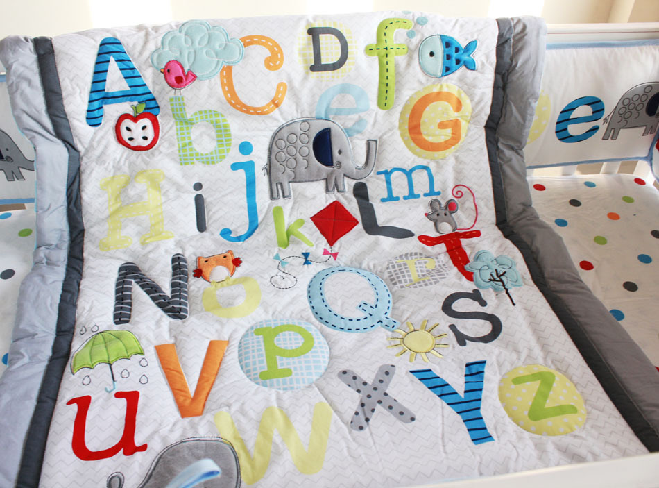 Baby Boy Quilt Patterns Set : ABC Characters Newborn Baby Boy Crib Bedding set 4pc Cot set Applique Quilt Bumpers Fitted Sheet ...