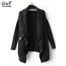 2016 Newest Fashion Design Cool Black Long Sleeve Knitwear Korean Crop Cute Oversize Knitted Casual Cardigan Sweater(China (Mainland))