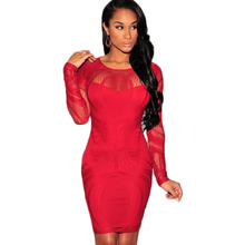 Red Long Sleeve Sexy Club Dress 2015 O Neck Packge Hip Women Bodycon Dress Autumn Winter Casual Lace Dress Short Party Dress(China (Mainland))