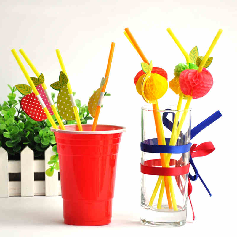 Free shipping 50PCS/Lot 3D Fruit Cocktail Paper Straws Umbrella Drinking Straws Party Decoration Color Assorted(China (Mainland))