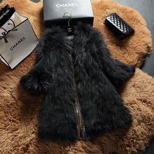 New Design Real Natural Raccoon Fur Coats Long Outerwear Women Genuine Fur Winter Coats Jacket Ladies fashion black white coats(China (Mainland))