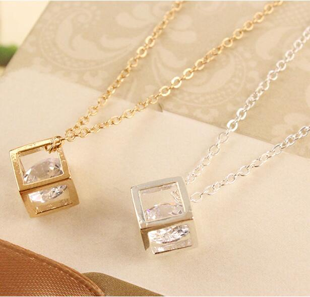 N1036 2016 New Fashion Korean version of the three-dimensional cube box chain necklace happiness Jewelry Wholesale(China (Mainland))