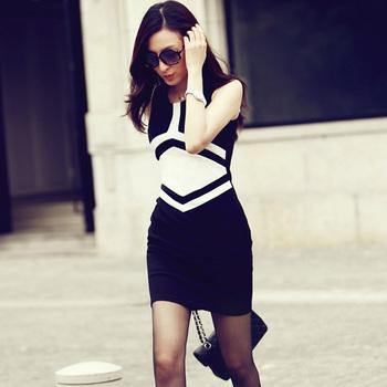 Office Ladies One-piece Dress/ Women Summer Dress/ Elegant Knitted Dress Office Wear/ Geometric Patchwork Dress