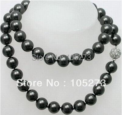 New Arriver Pearl Jewelry AA 9-10MM Black Color Natural Freshwater Pearl Necklace 35inch Magnet Clasp Hot Sale New Free Shipping<br><br>Aliexpress