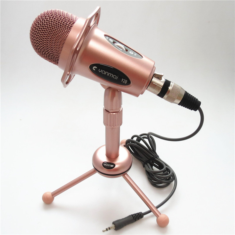 Professional High sensitivity Wired Condenser Rose Gold Microphone+Tripod Support Adjustable for Singing Karaoke PC Laptop Skype(China (Mainland))