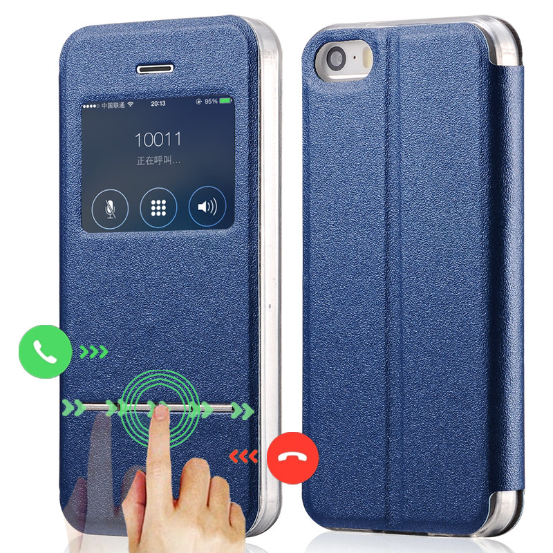Newest Window View Case For iPhone 4 Flip Matte Leather Back Cover For iPhone 4s Magnetic Sliding Answer Calls Fundas(China (Mainland))