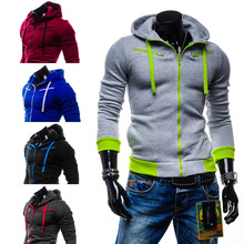 Fashion Long Sleeves Men Sweatshirt V-neck Cotton Casual Sports Hoodies Men Novelty Patchwork Fit Mens Tracksuit(China (Mainland))