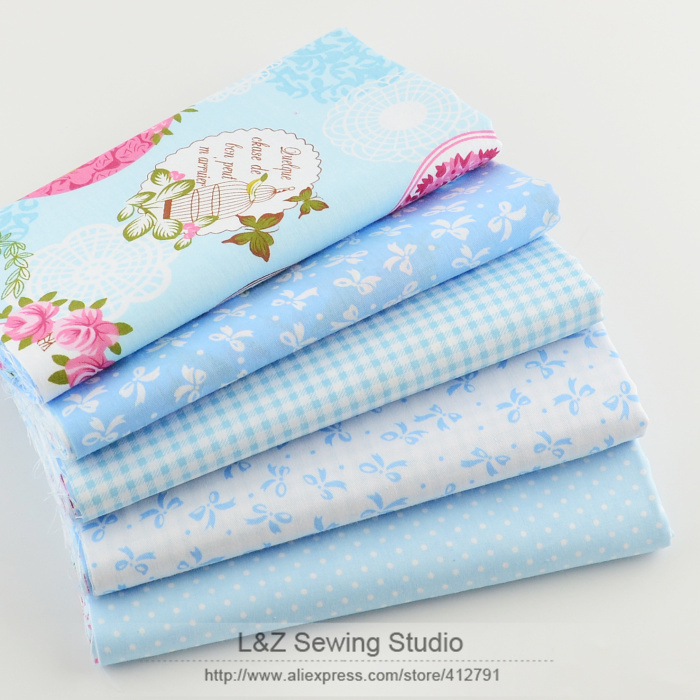 40cm*50cm 5pcs Blue Cotton Fabric Fat Quarter Quilting Patchwork Tissue Kids Baby Bedding Textile For Sewing Tilda Doll(China (Mainland))