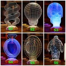 Novelty 3D Acrylic LED Mood Lamp Skull Spiral Cartoon Baymax Shape 3D Table Light 3 Color Available(China (Mainland))
