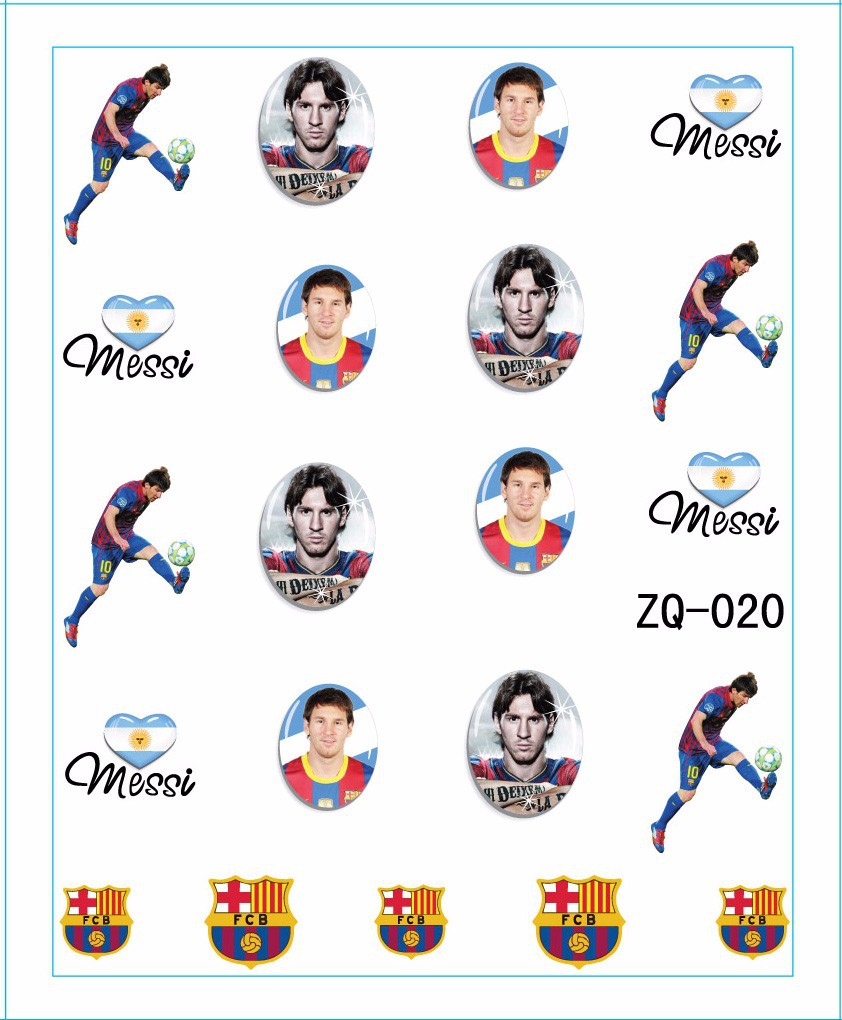 ZQ-020 Brazil Flag World Cup with Messi water transfer nail art Accessories Football Serie Nail Tattoo,22 Different design(China (Mainland))