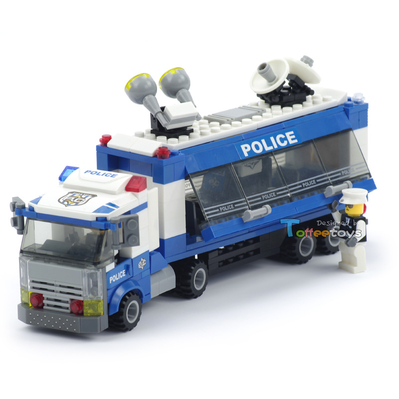 City Police 325pcs Command Vehicle Building Blocks DIY Assemble Figure Construction Enlighten Bricks Toys Legoelieds(China (Mainland))