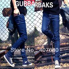 Hot selling men's fashion Classic blue slim denim jeans all-match skinny pencil pants black,blue korea style free gift(China (Mainland))