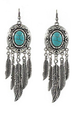 Bohemian Vintage Silver Carving Metal Turquoise Feather leaf Shape Dangle Earrings