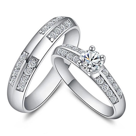 60% off Couple Rings 925 Silver Women Jewelry CZ Diamond White Gold ...