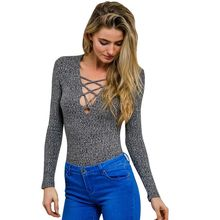 Lace up V Neck Top Lady Sexy Knitted Tops Pullover Cross Lace Up Long Sleeve T Shirt(China (Mainland))